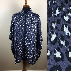 Sweater knit leopard print zip front cape size 2X